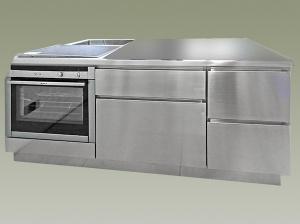 Cucina inox isola