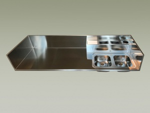 Piani cucina in acciaio inox, Top cucina corten e rame su misura ...